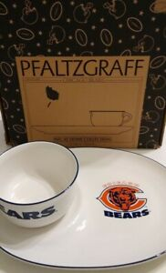 Pfaltzgraff NFL Chicago Bears Snack Plate & Cup Soup and Sandwich Set NEW IN BOX