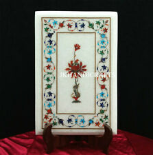 """White Marble Side Table Top Lapis Lazuli  Marquetry Floral Inlaid work 18"""" x 12"""""""