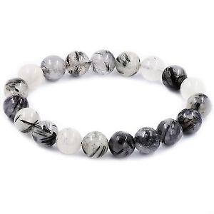 Natural Black Tourmaline Rutilated Quartz Gemstone Bead Elasticity Bracelet 1pcs