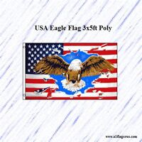 USA Eagle Flag 3x5ft Poly