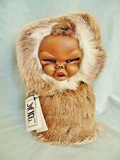 "Artisan VTG, NUNI-DOLL Pouty Alaskan Eskimo Doll, Reindeer Fur Hand Made Wood 9"""