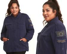 2X 18/20 New Torrid Navy Blue Army Military Stretch Beaded Twill Shirt Jacket