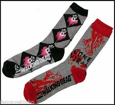 Walking Dead Zombie Women's Crew Cut Socks -  2 Pair - Argyle / Gone Viral