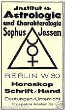 Astrologie Horoskop Jessen Berlin Reklame von 1927 Sophus aus der Hand lesen