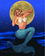 Mermaid Art Print 8 x 10 - Yawning in the Moonlight - Art Deco Flapper - Pinup