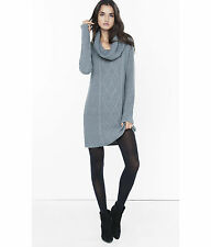 NEW EXPRESS GRAY COWL NECK CABLE KNIT SWEATER DRESS SZ M MEDIUM