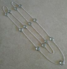 """NATURAL ROUND BLUE AQUAMARINE 925 STERLING SILVER LONG CHAIN NECKLACE 36"""" MALA"""