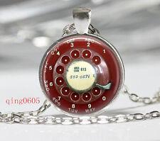 Vintage Phone Button Cabochon Tibetan silver Glass Chain Pendant Necklace #F05