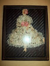 Vintage~Mid Century~Picture~Woman~Flower Petals~Paper Doll~Framed~Wall Decor