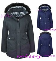 PARKA GIRLS New JACKET COAT FUR HOODED LEOPARD CLOTHING AGE 7 8 9 10 11 12 13 G