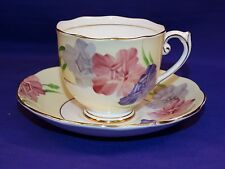 FINE BONE CHINA ROSLYN CUP & SAUCER SET ENGLAND PINK PURPLE LAVENDER FLOWERS