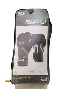 Everlast Pro Style Elite  Training Boxing Gloves Size 16 Ounces, Black/gray