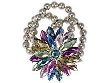 GB Colorful Crystal Rhinestone Spring Floral Flower Beaded Bracelet Bangle Cuff