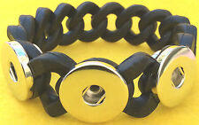 Snap Button Black Silicone Stretch Bracelet Fit Ginger Snaps Style Snap Buttons