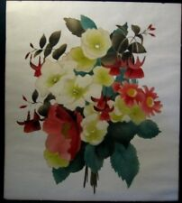 Flower Floral Bouquet Lithograph Print Signed Bernard 1949 White Red Green