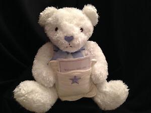 Hallmark Tuck A Wish Baby Teddy Bear Plush White Welcome Little One Blue Ribbon