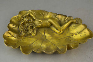 Collectible Old Brass Carving Beauty Belle On The Lotus inkwell / Ashtray Pot