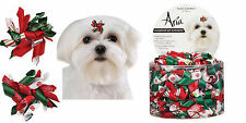 40 pc SANTA Holiday Christmas Curl DOG RIBBON HAIR BOW BARRETTE Metal Clip Clasp