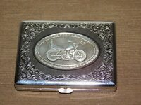 "VINTAGE TOBACCO 4"" X 3""  OLD MOTORCYCLE METAL CIGARETTE CASE HOLDER"
