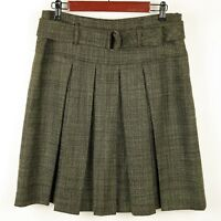 ETCETERA Size 8 - GREEN & BLACK PLEATED WOOL A LINE SKIRT - Knee Length & Lined
