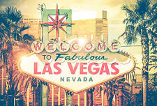 STUNNING LAS VEGAS SIGN VINTAGE RETRO STYLE #443 CANVAS PICTURE WALL ART A1