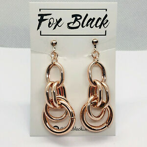 Rose Gold Chain Link Hoop Knot Drop/ Dangle Clip On Earrings Blogger Statement