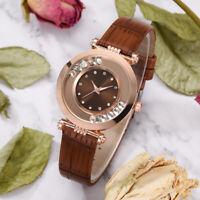 Women Leather Strap Watches Ladies Casual Quartz Crystal Rhinestone Wrist Watch