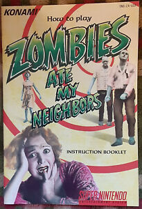 Official vintage Zombies Ate My Neighbors instruction manual booklet Konami SNES