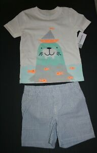 New Carter's 5T Boys 2 Piece Set Walrus Ship Applique Top & Pinstripe Shorts