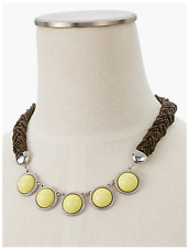 TALBOTS Seed-Bead Rope & Cabochon Necklace