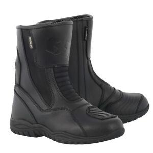 Oxford Tracker Waterproof Leather Motorcycle Motorbike Scooter Boots - Black UK9