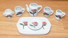 Collectible 7 Piece Lot Ceramic Pink Rose Plate & Multiple Cups Tea Set Pieces!