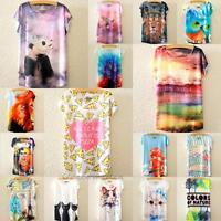 Cute Women Summer Animal Print Loose Casual Short Bat Sleeve Blouse T-shirt Tops