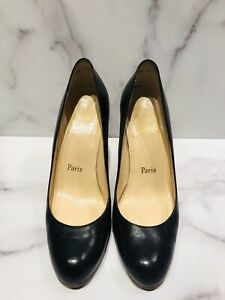 Christian Louboutin Black Leather Wedge Heels Shoes