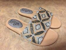 Latigo Vella Women's Sandals & Flip Flops BLUE BEIGE BEADS NEW 7 M SILVER NEW