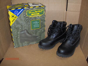 Thom McAn Leather Premium Work Boots waterproof steel toe black Size 8 boot