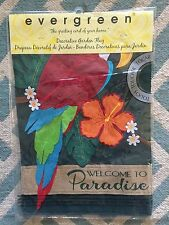 New Evergreen Garden Flag Double Sided Emboidered Appliqué Parrot Paradise