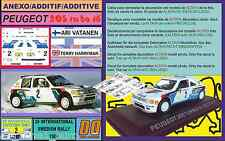 ANEXO DECAL 1/43 PEUGEOT 205 T16 A.VATANEN SWEDISH RALLY 1985 (01)
