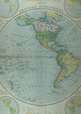 1891 ANTIQUE MAP WESTERN HEMISPHERE NORTH AMERICA SNOWFALL RAINFALL CANADA