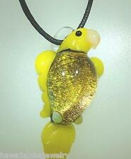 Lampwork Dichroic Color Glass Hawaiian Manualoha Tropical Parrot Pendant Adj #4