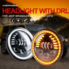 7Inch LED Headlights Pair High Low Beam Halo DRL Lamp for Jeep Wrangler JK TJ LJ