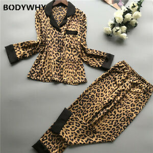 2020 women pajamas set with pants ice silk home service satin leopard print sexy