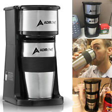 Coffee Maker with Travel Mug Makes 1 One Cup Permanent Filter Home Office Use