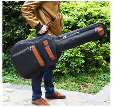 Premium Acoustic Guitar Bag. Padded Waterproof Double Straps Black Leather trim