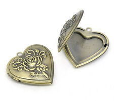 5 Bronze Tone Heart Locket Photo Frame Settings 29x29mm