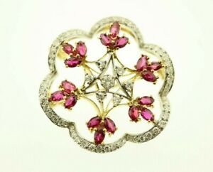 VINTAGE 18CT GOLD RUBY AND DIAMOND PENDANT / BROOCH