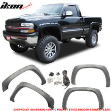 99-06 Chevy Silverado 1500 HD Rivet Boss Pocket Rivet Fender Flares Smooth Black