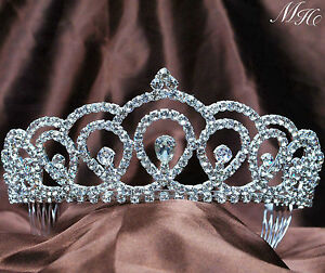 Royal Bridal Pageant Rhinestone Crystal Prom Ladies Wedding Birthday Crown Tiara