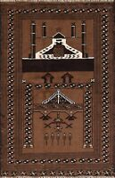 Tribal Pictorial Geometric Balouch Oriental Area Rug Hand-knotted Wool 3x4 Brown