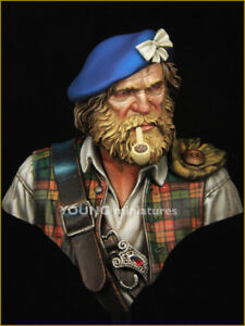 young miniatures highland clansman resin bust kit 1/10 scale yh1838